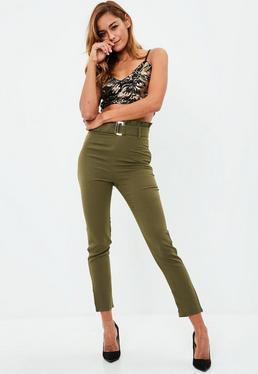 Khaki Belted Cigarette Pants