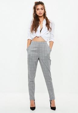Szare eleganckie spodnie cygaretki w kratę