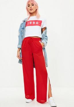 Red Side Stripe Wide Leg Joggers