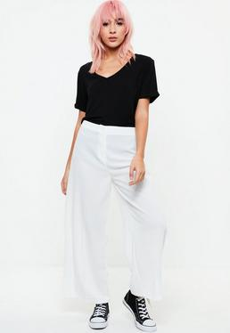 White Highwaisted Crepe Culottes