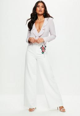 Premium White Crepe Embroidered Wide Leg Pants