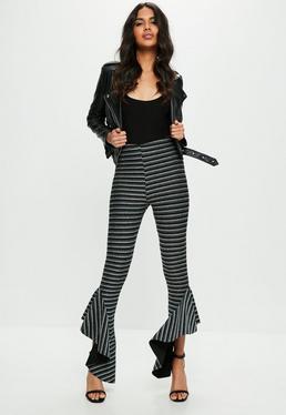 Black Metallic Striped Asymmetric Frill Side Cigarette Pants