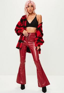 Burgundy Lace Up Faux Leather Flared Pants
