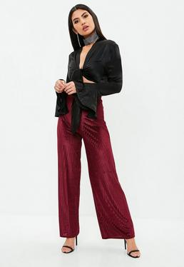 Purple Burnout Wide Leg Pants
