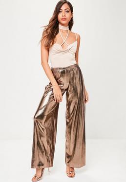 Gold Metallic Wide Leg Trousers