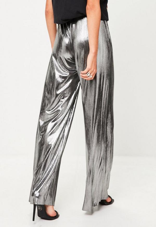 Silver Metallic Wide Leg Pants Missguided