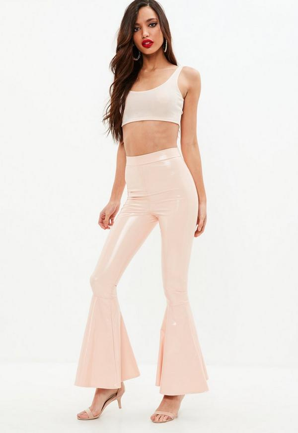 Nude Vinyl Skinny Flared Pants by Missguided