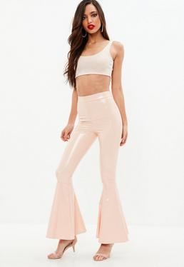 Nude Vinyl Skinny Flared Trousers