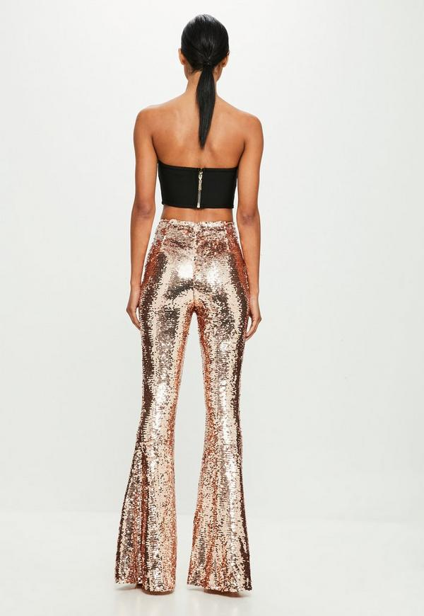 Peace Love Gold Sequin Trousers Missguided