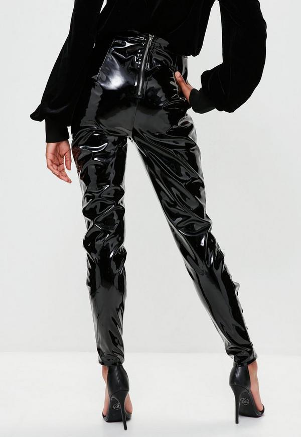 Pantalon Noir En Vinyle 224 Lacets Londunn Missguided