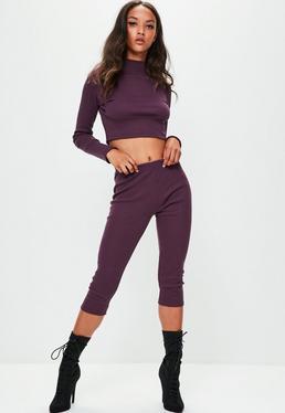 Londunn + Missguided Purple Ribbed Leggings
