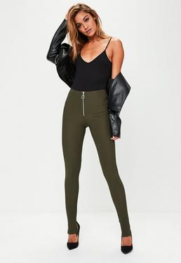 Bandage Leggings mit Steg in Khaki