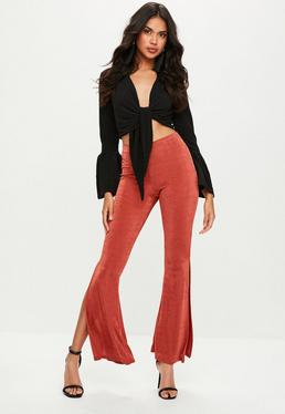 Orange Slinky Flared Skinny Trousers