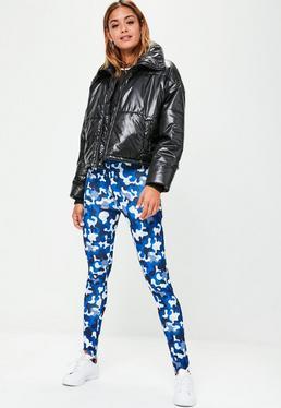 Fuseau bleu en néoprène imprimé camouflage