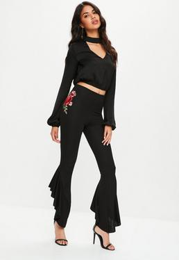 Black Embroidered Asymmetric Frill Side Trousers