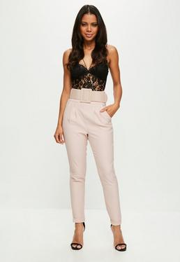 Pink Belted Skinny Trousers