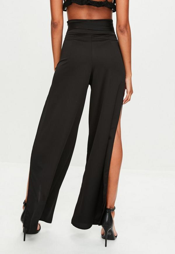 Black Side Split High Waisted Trousers Missguided Ireland