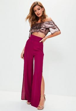 Purple Split Side Belt Detail High Waisted Pants