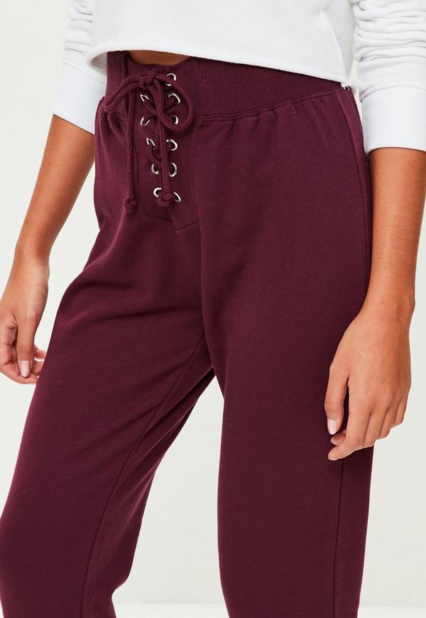 Burgundy Cropped Lace Up Joggers