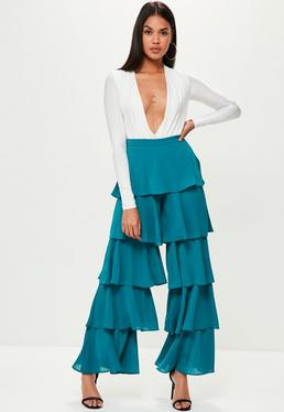 Blue Chiffon Tiered Frill Wide Leg Pants