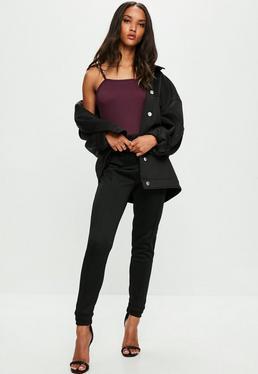Londunn + Missguided Czarne trykotowe spodnie dresowe