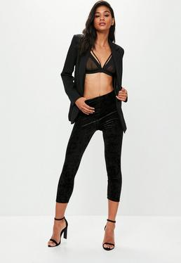 Black 3/4 Length Velvet Leggings