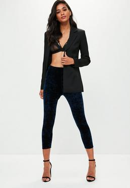 Navy 3/4 Length Velvet Leggings
