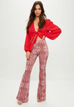 Red Paisley Print Slinky Trousers