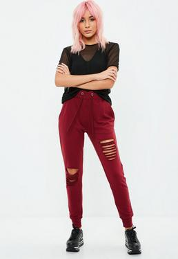 Burgundy Ripped Joggers