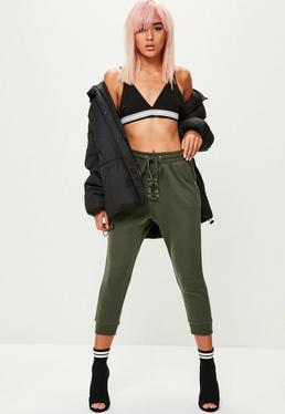 Khaki Cropped Lace Up Joggers