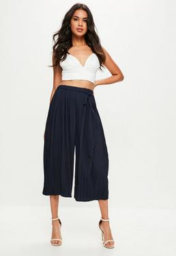 Granatowe plisowane spodnie Culottes