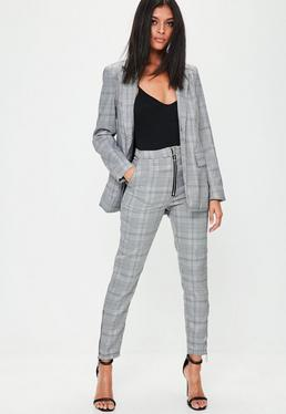 Pantalon gris skinny vintage à carreaux