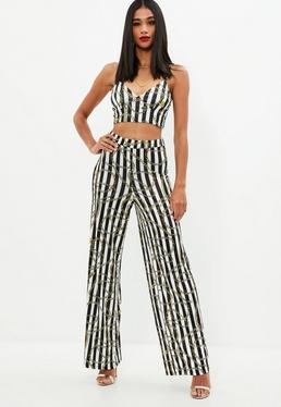 White Chain Print Wide Leg Pants