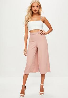 Pink Crepe Culottes