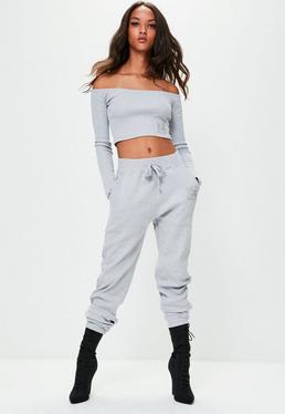 Londunn + Missguided Pantalón de chándal de canalé en gris