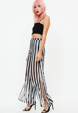 Black Wrap Over Mesh Trousers