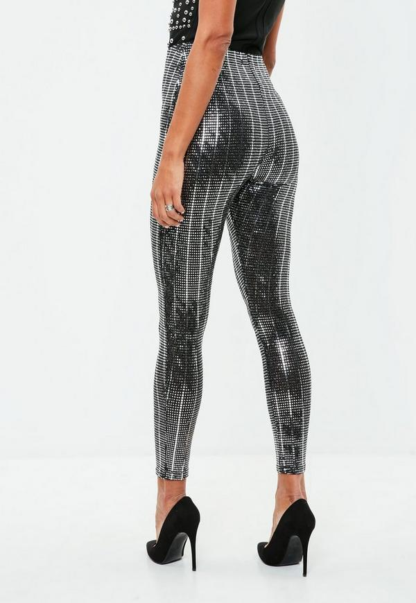 Available In Silver High Rise Skinny Legging Lurex Fabric Full Stretch Elastic Waistband