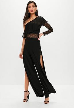 Black Lace Insert Split Side Pants