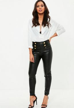 Black Faux Leather Military Trousers