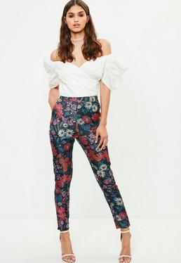 Blue Floral Jacquard Slim Leg Trouser