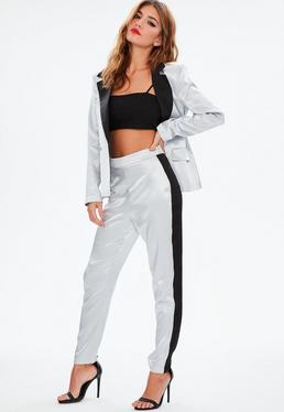 Silver Side Stripe Pants