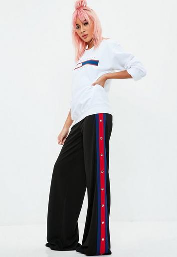 Black Popper Side Stripe Split Pants Missguided