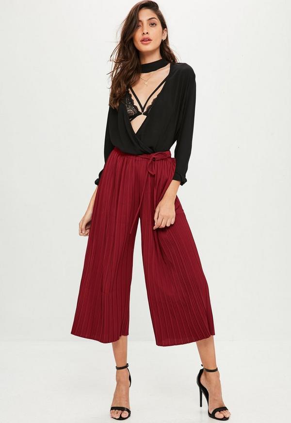 burgundy pleated skinny tie waist culottes missguided. Black Bedroom Furniture Sets. Home Design Ideas