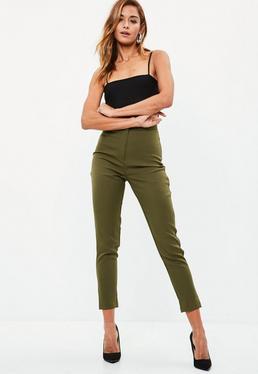 Khaki Tailored Cigarette Trousers