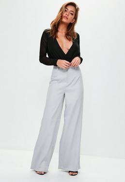 Gray Crepe Wide Leg Pants