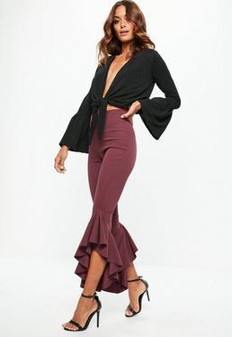 Purple Asymmetric Draped Frill Side Cigarette Pants