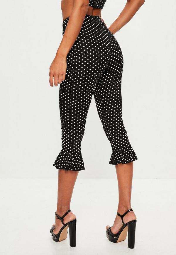 Black Polka Dot Print Frill Leggings | Missguided