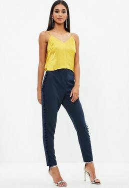 Navy Cropped Crepe Tassel Trousers