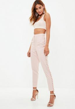 Nude Cropped Tassel Trim Trousers