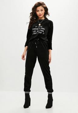Pantalón de chándal de terciopelo en negro